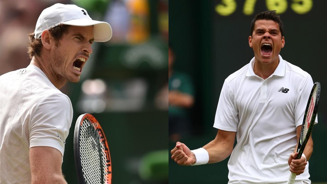Andy Murray (gauche) et Milos Raonic (droite)