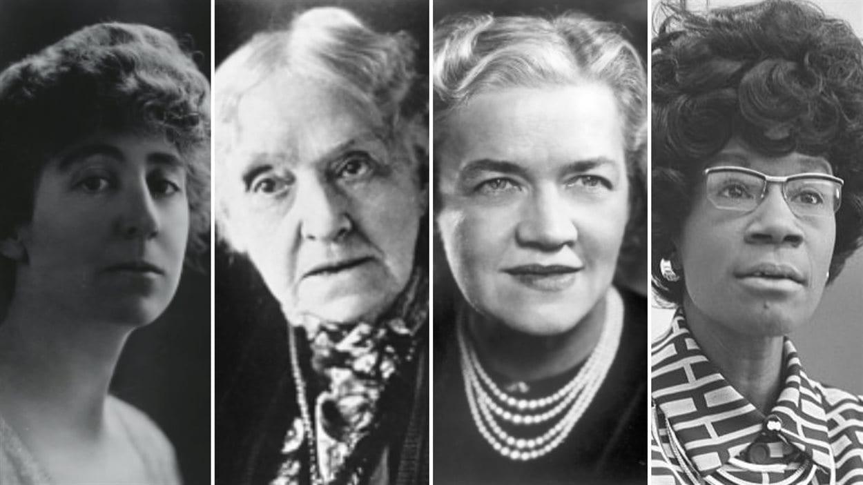 Quelques pionnières : (de gauche à droite) en 1916, la républicaine Jeannette Rankin devient la première représentante élue au Congrès; nommée par manœuvre politique en 1922, la première sénatrice, la démocrate Rebecca Latimer Felton, n'a siégé qu'un jour; en 1948, la républicaine Margaret Chase Smith devient la première femme à avoir été élue dans les deux Chambres; en 1968, la démocrate Shirley Chisholm devient la première Afro-Américaine élue au Congrès.