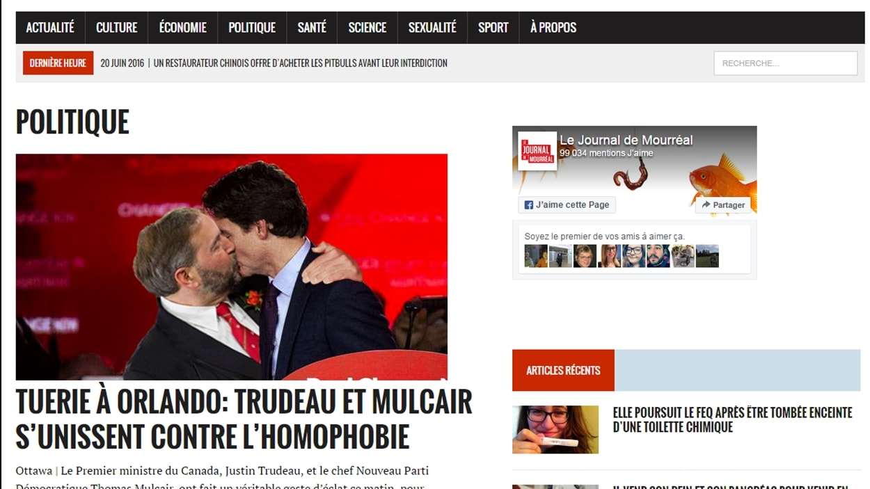 La page politique du site web humoristique « Le journal de Mourréal ».