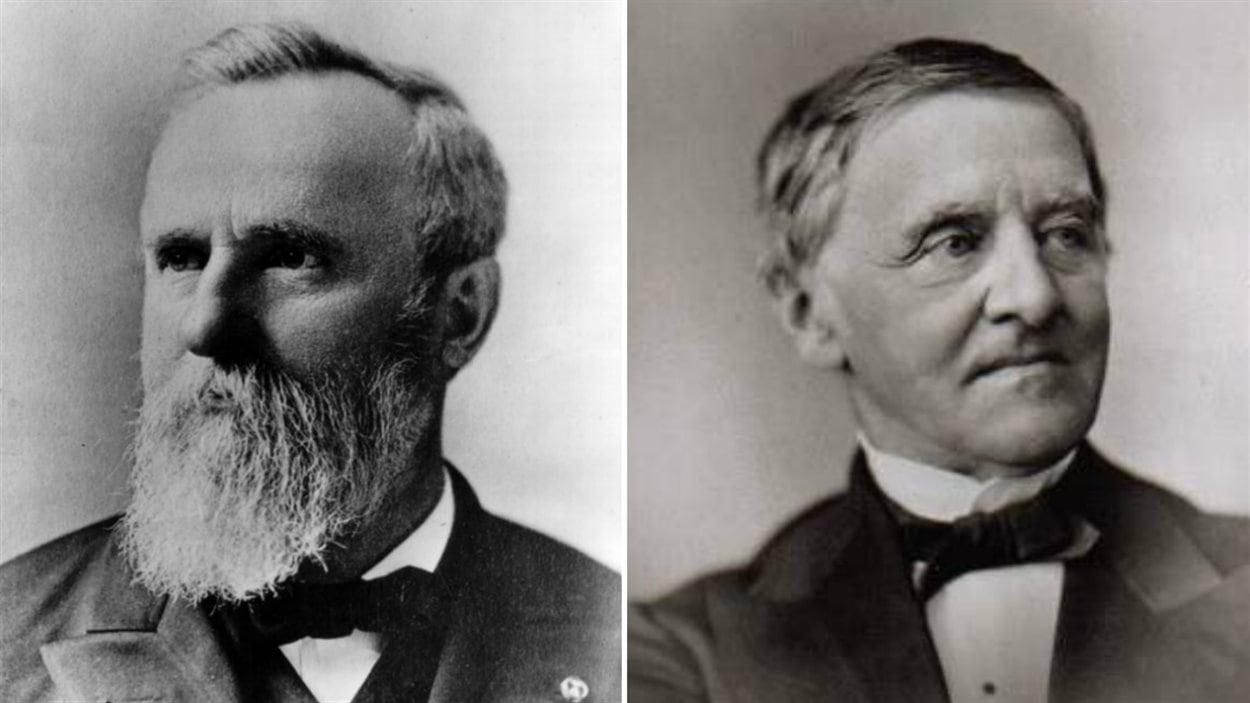 Rutherford B. Hayes (à gauche) et son adversaire Samuel Tilden