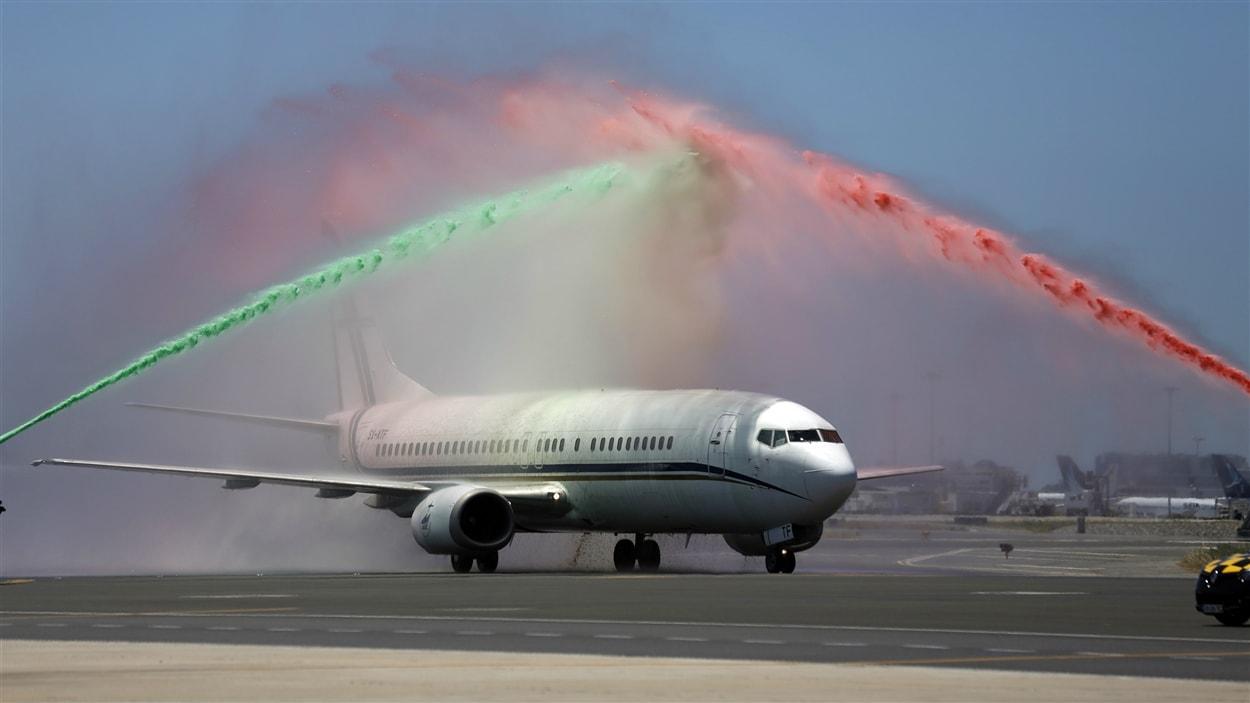 L'avion des joueurs portugais à leur retour à Lisbonne.