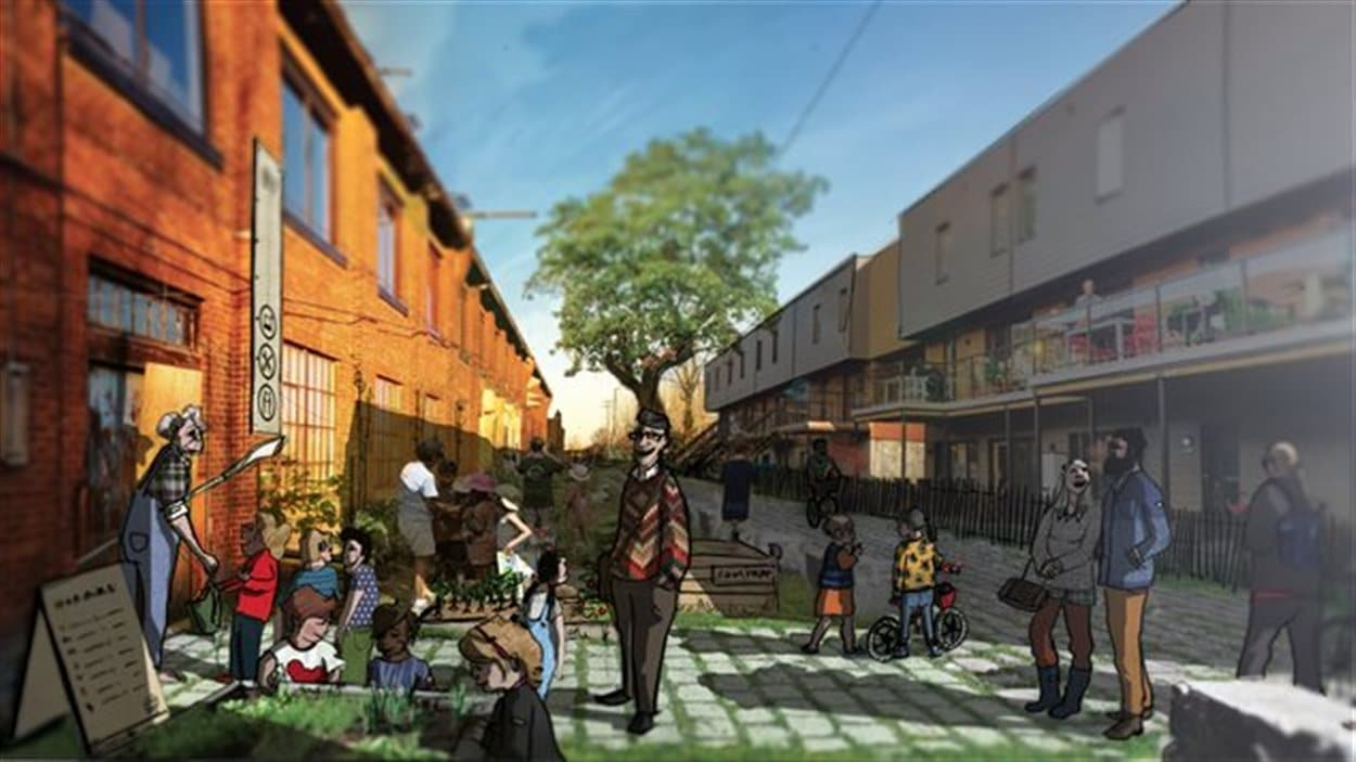 Maquette du projet des Ateliers 7 à Nous, dans le Bâtiment 7 dans le quartier Pointe-Saint-Charles