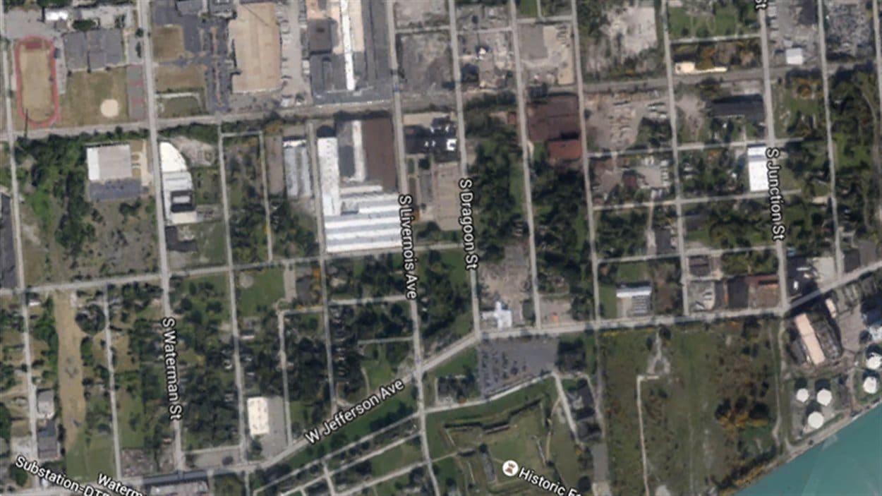 Carte de l'emplacement de l'entrée du pont de Gordie Howe à Détroit