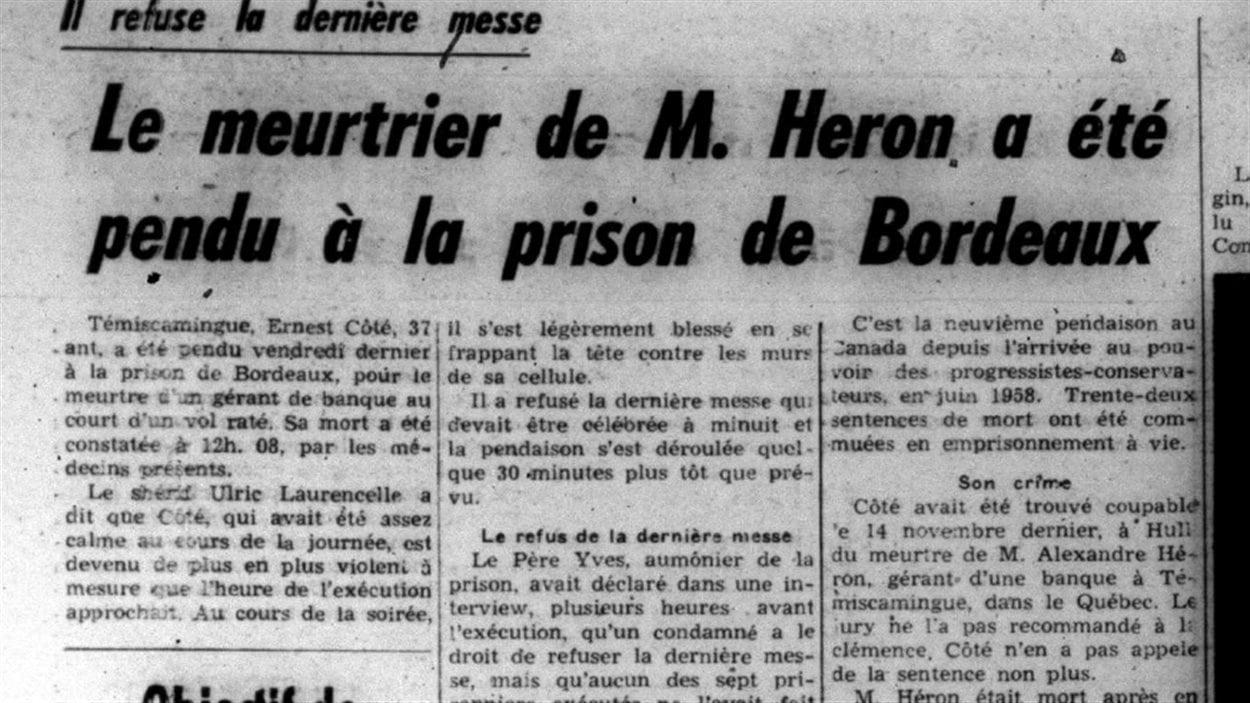 «Le meurtrier de M. Heron a été pendu à la prison de Bordeaux», titre le journal La Frontière le 17 mars 1960.