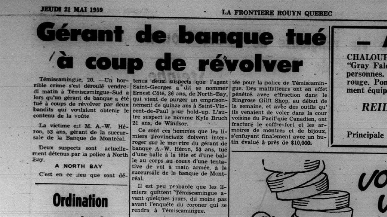 «Gérant de banque tué à coup de revolver», titre le journal La Frontière le 21 mai 1959.