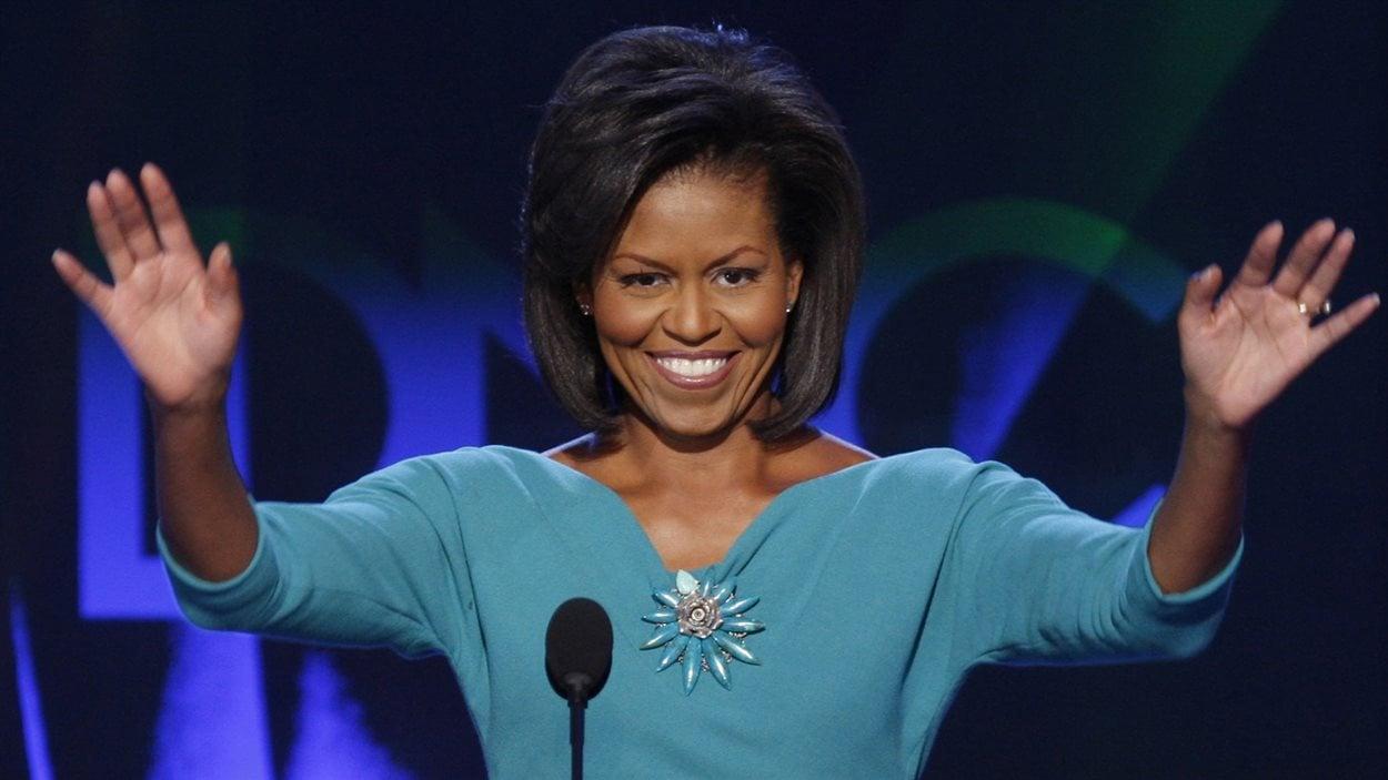 Michelle Obama lors de son discours à la convention démocrate à Denver, le 25 août 2008.
