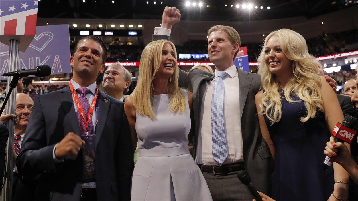 Les enfants de Donald Trump (de gauche à droite), Donald Trump fils, Ivanka Trump, Eric Trump et Tiffany Trump