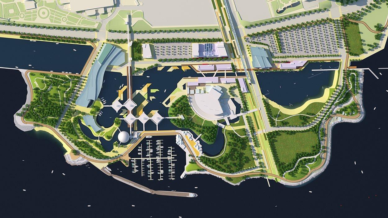 Plan, dessin, de la nouvelle place Ontario en vue aérienne