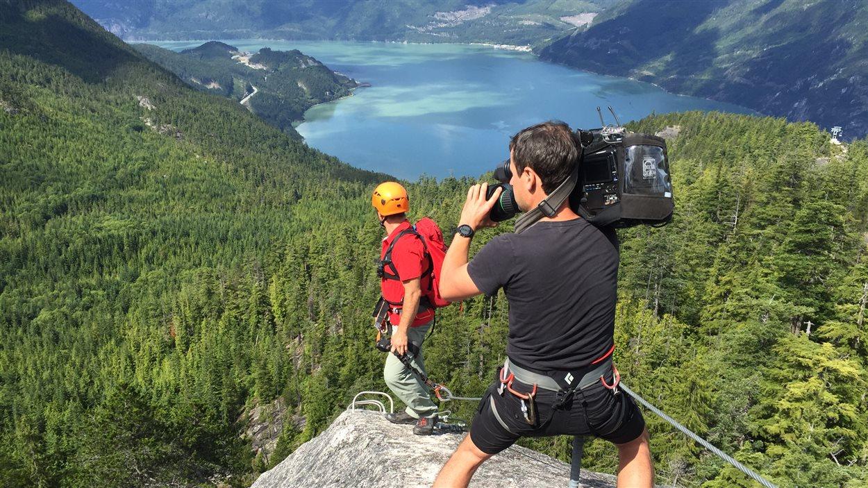 Tout un défi pour le cameraman Frédéric Gagnon!