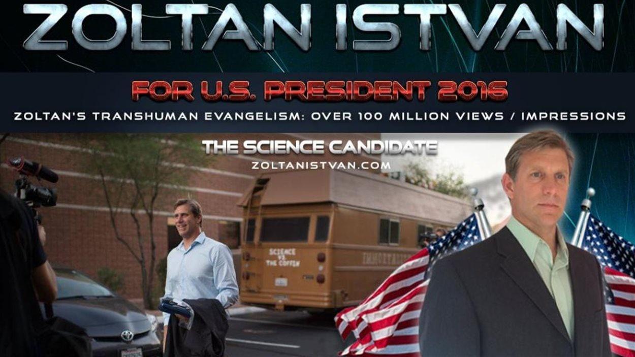 Le site de Zoltan Istvan. Le candidat fait campagne à bord de son «Autobus de l'immortalité», un véhicule coiffé d'un cercueil.