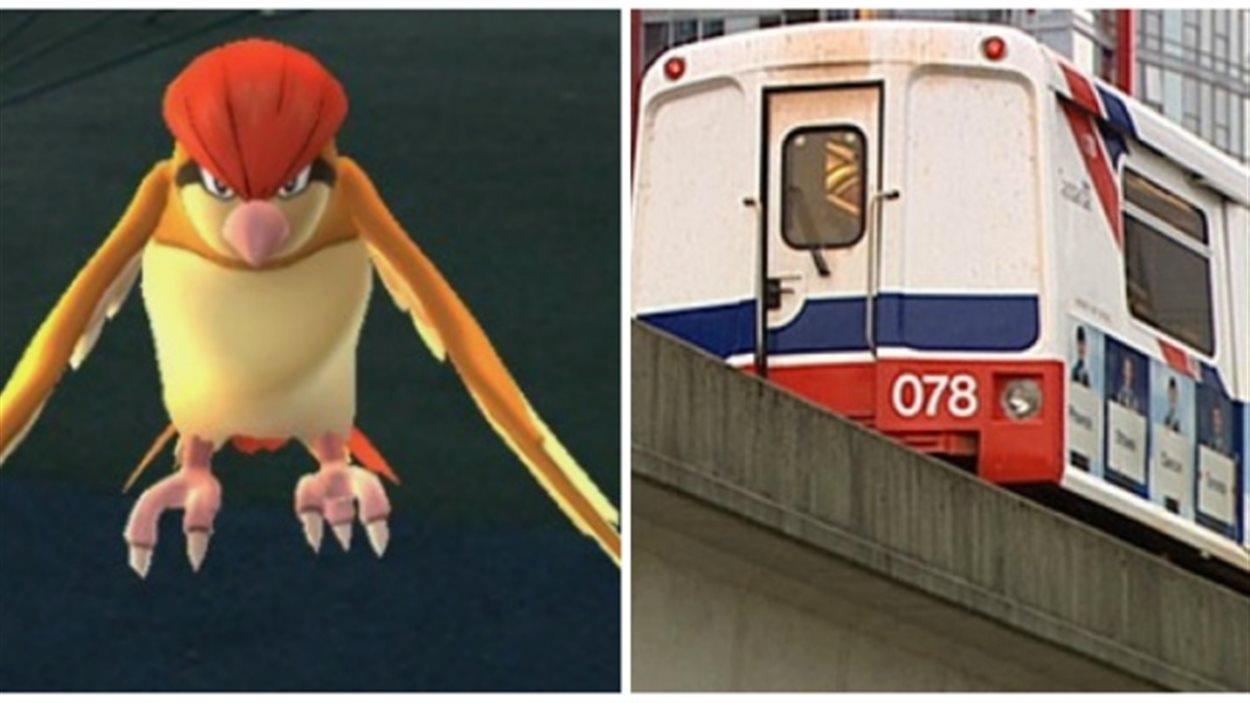 Images d'un Pokémon et du Skytrain de Vancouver.