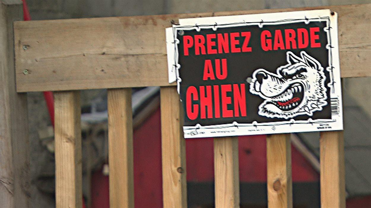 Une pancarte «Prenez garde au chien» à la résidence du propriétaire du chien de Cowansville qui est mort à la suite d'un combat avec deux autres animaux