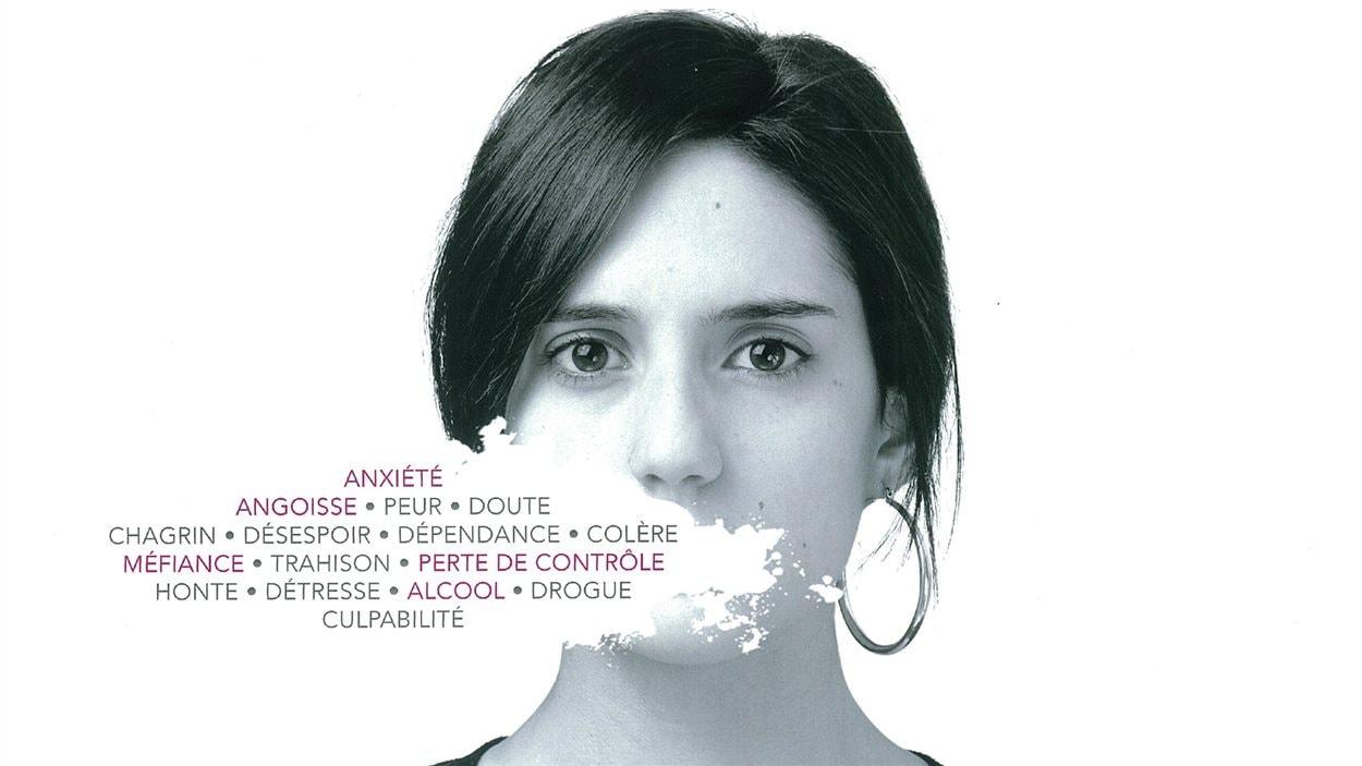 Mélanie Lemay, sur une affiche du Centre d'aide et de lutte contre les agressions à caractère sexuel de l'Estrie