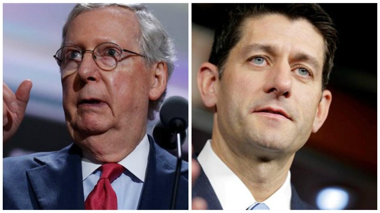 Le leader de la majorité républicaine au Sénat américain et le président de la Chambre des représentants, Mitch McConnell et Paul Ryan