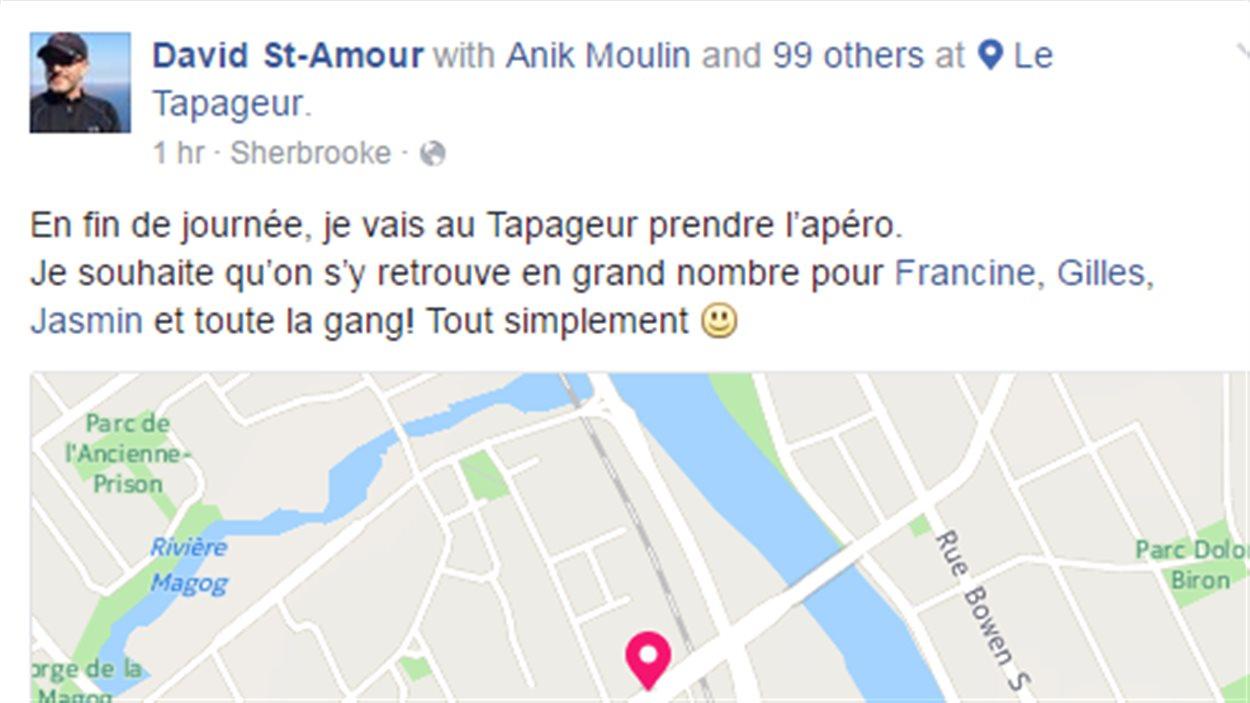 Une capture d'écran du restaurateur David St-Amour qui invite à un apéro de solidarité au restaurant Le Tapageur