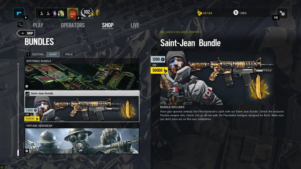 Un exemple de microtransaction dans le jeu « Rainbow Six Siege » d'Ubisoft