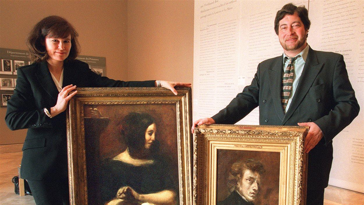 Des portraits de George Sand et de Frédéric Chopin réalisés par le peintre Eugène Delacroix