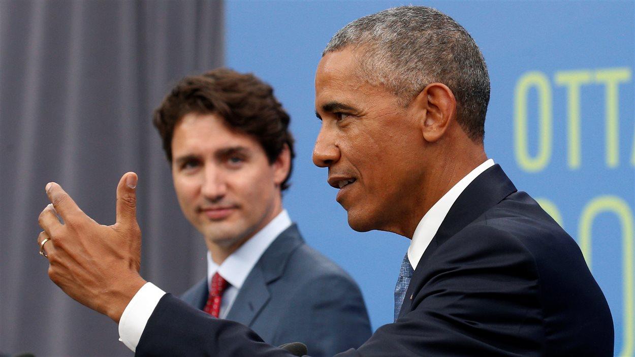 Justin Trudeau et Barack Obama lors de la visite de ce dernier à Ottawa, en juin