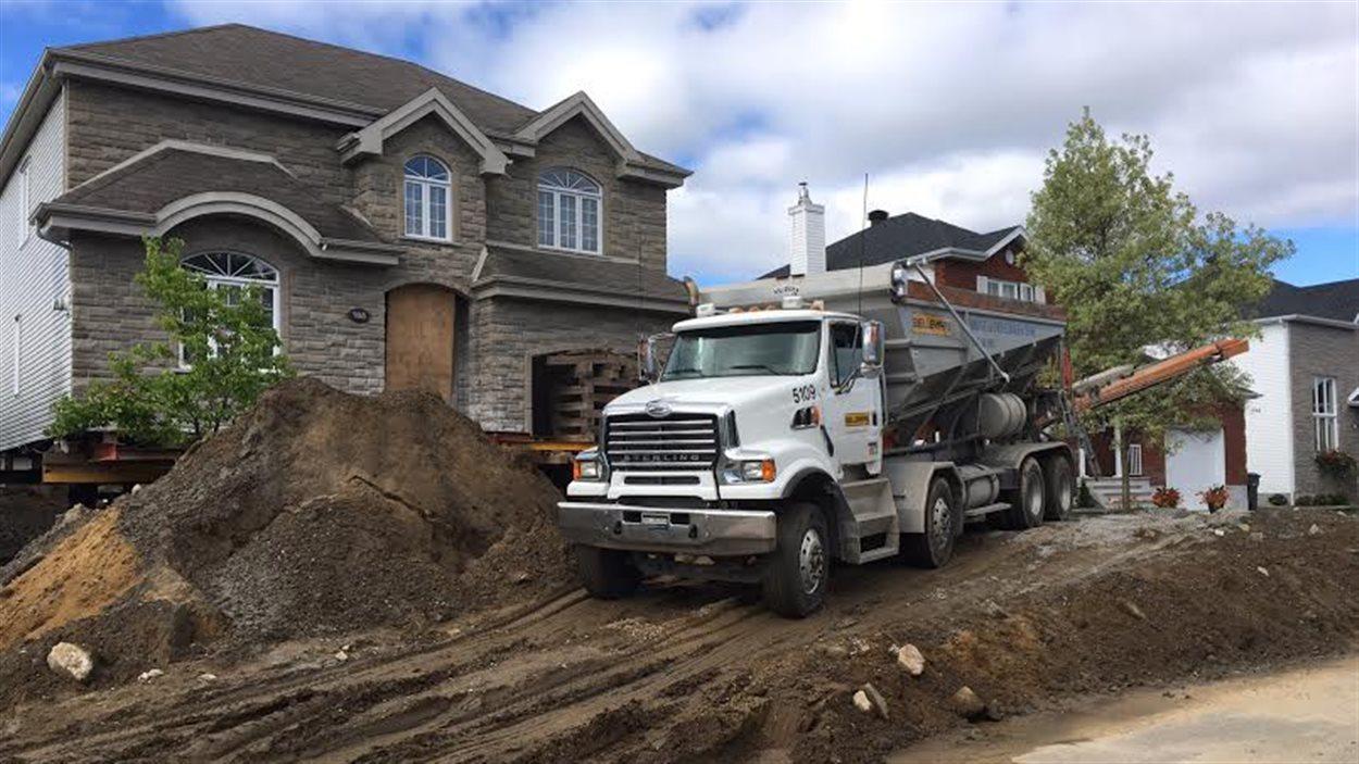 Cette maison de Trois-Rivières fait l'objet de travaux de réparation à cause de la pyrrhotite qui s'y trouve