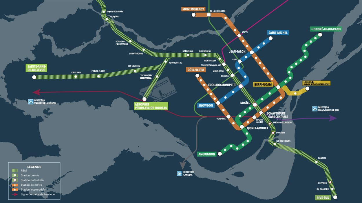 Le REM reliera à la fois le centre-ville de Montréal, la Rive-Sud, l'ouest de l'île (Sainte-Anne-de-Bellevue), la Rive-Nord (Deux-Montagnes) et l'aéroport.