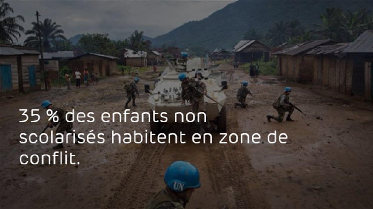 Infographie : 35 % des enfants non scolarisés habitent en zone de conflit.
