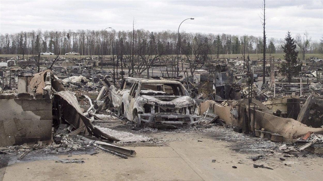 Le quartier Beacon Hill à Fort McMurray, un des plus touchés par les feux de forêt de mai 2016.