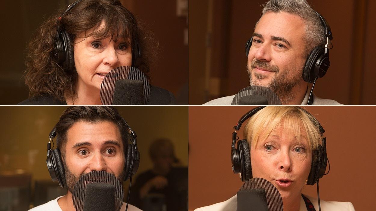 De gauche à droite et de haut en bas : Christiane Charette, Martin Juneau, Arnaud Granata et Christiane Germain