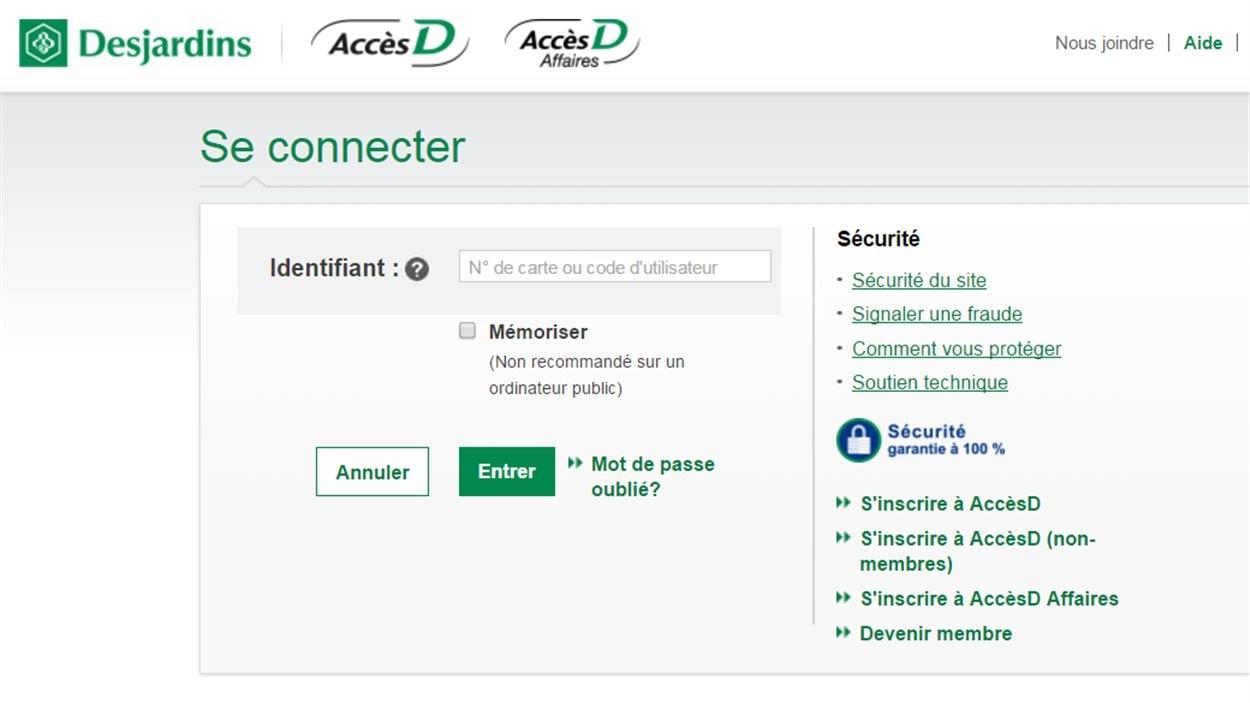 Le site AccèsD de Desjardins