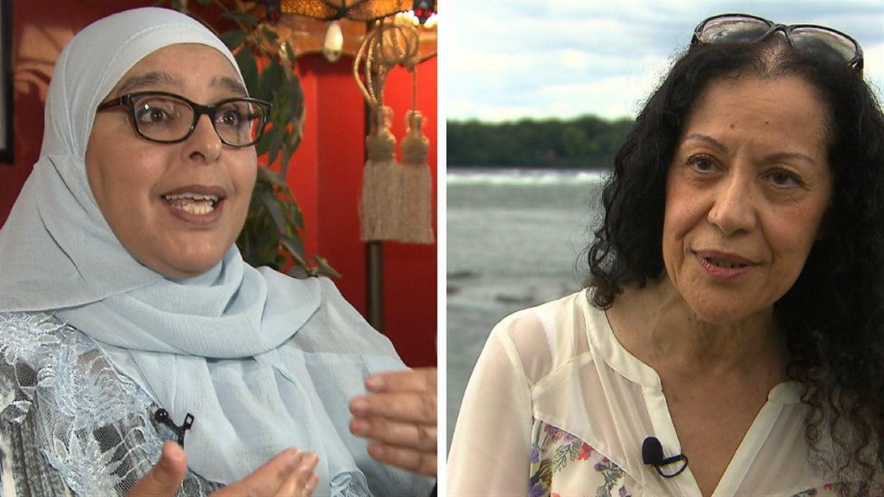 Samira Laouni (à gauche) et Leïla Bensalem (à droite) ont des avis différents sur le port du burkini dans les écoles du Québec.