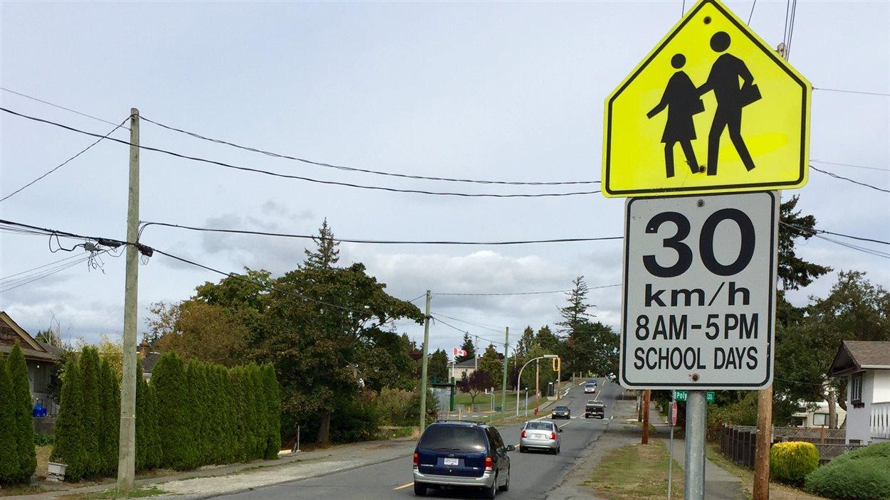 Une zone scolaire limitée à 30 km/h à Saanich