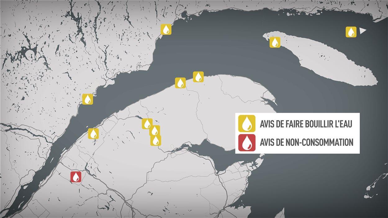 Les municipalités aux prises avec des problèmes d'eau potable dans l'Est du Québec.