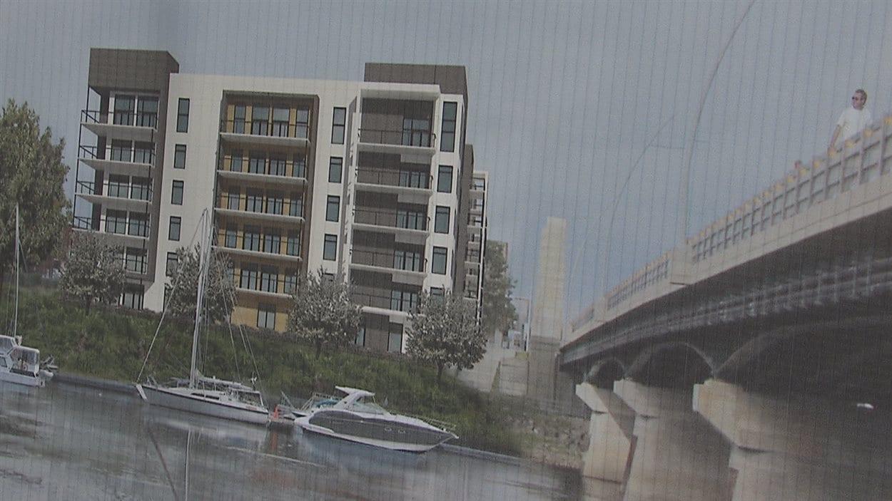 Le dessin du nouveau projet d'immeuble de copropriété à Trois-Rivières.