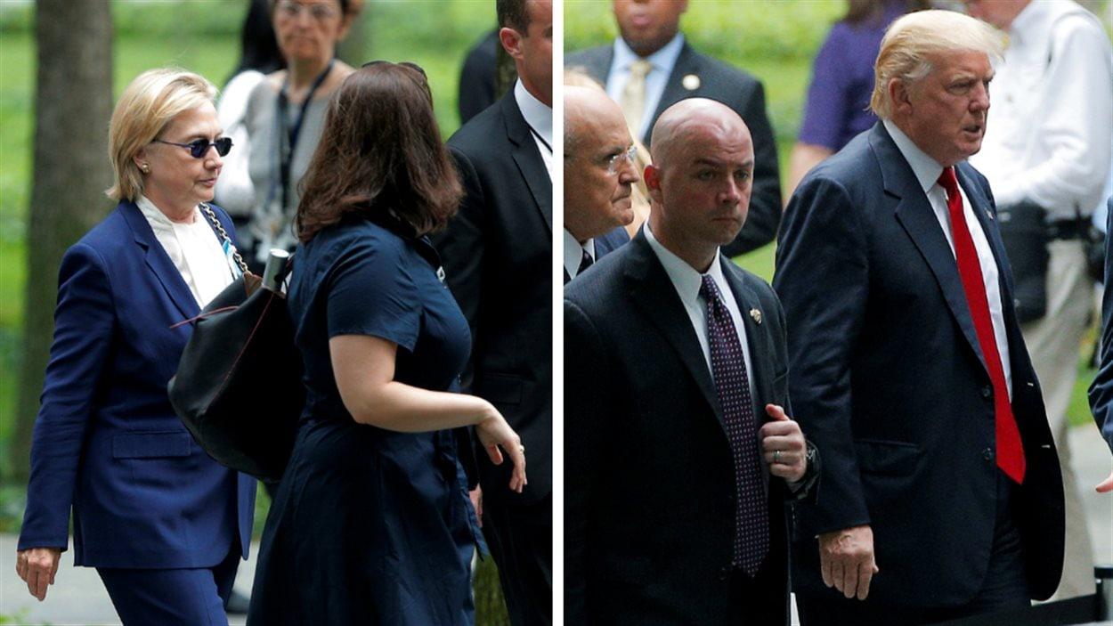Hillary Clinton et Donald Trump, les deux candidats à la présidentielle de 2016, se rendant sur le site de Ground Zero.