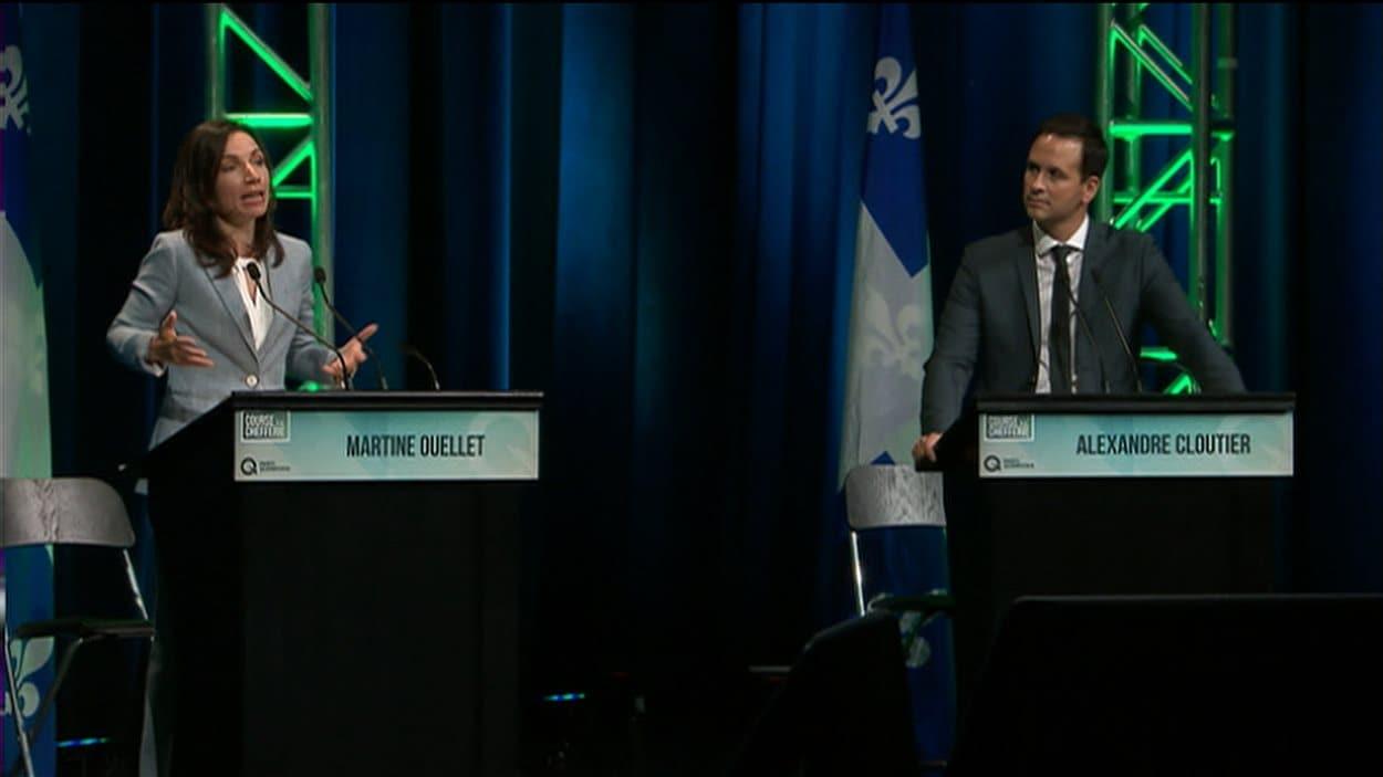 Martine Ouellet et Alexandre Cloutier lors du débat à Sherbrooke.