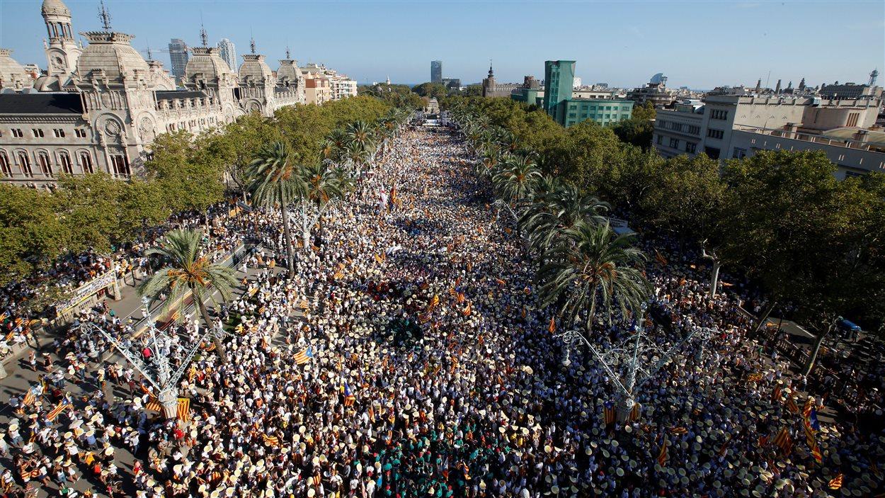Manifestation monstres des indépendantistes à Barcelon le 11 septembre 2016.