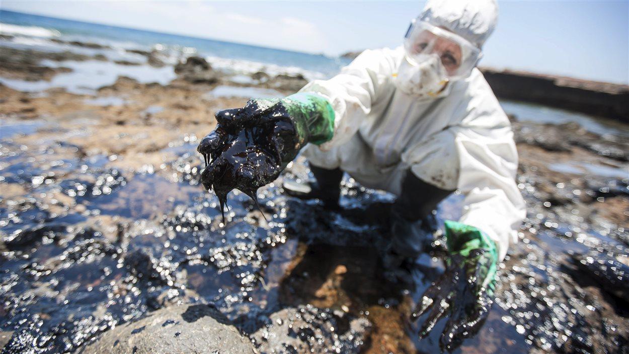 Un bénévole nettoie une plage des îles Canaries, en mai 2015, après le naufrage d'un pétrolier russe.