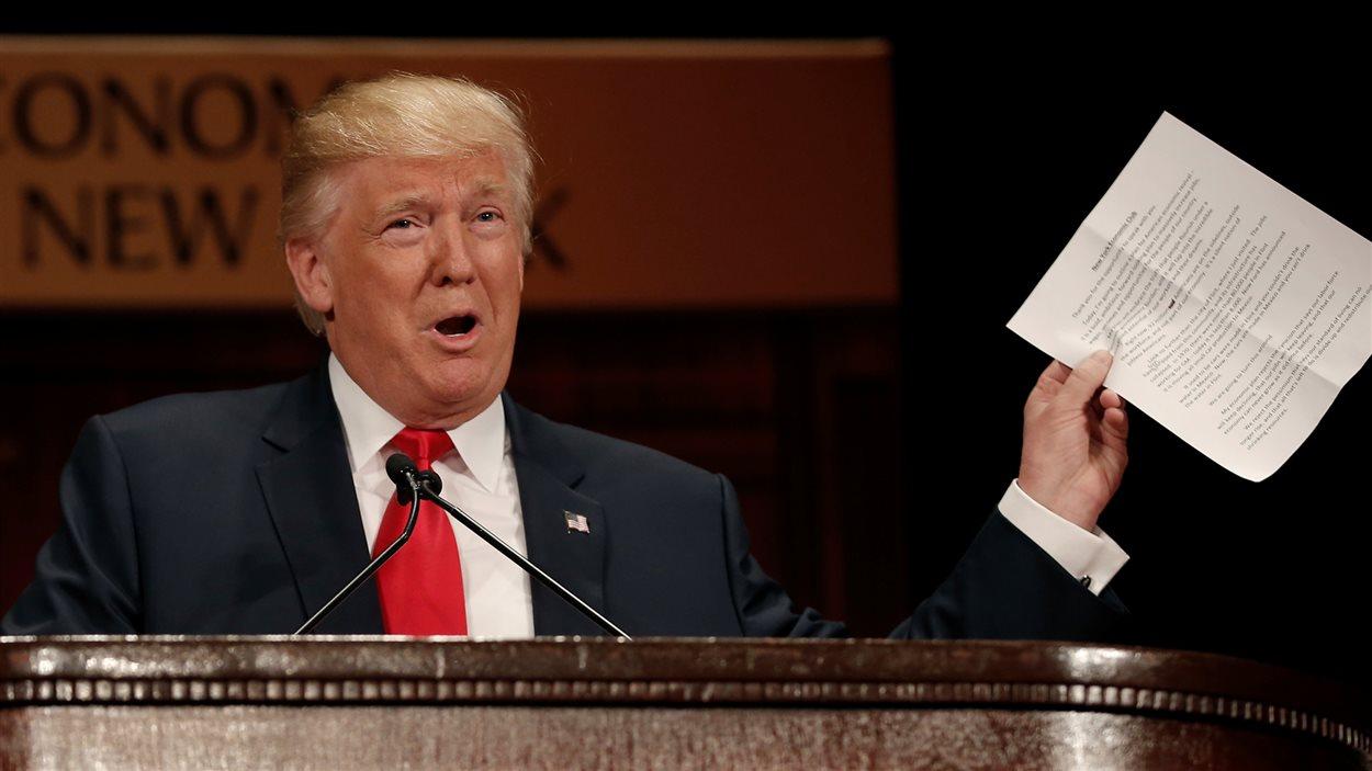 Donald Trump, jeudi, au Economic Club de New York