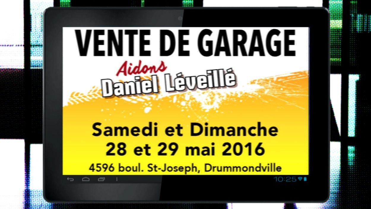 Image de la publicité faite pour annoncer la tenue d'une vente de garage pour financer les traitements de Daniel Léveillé