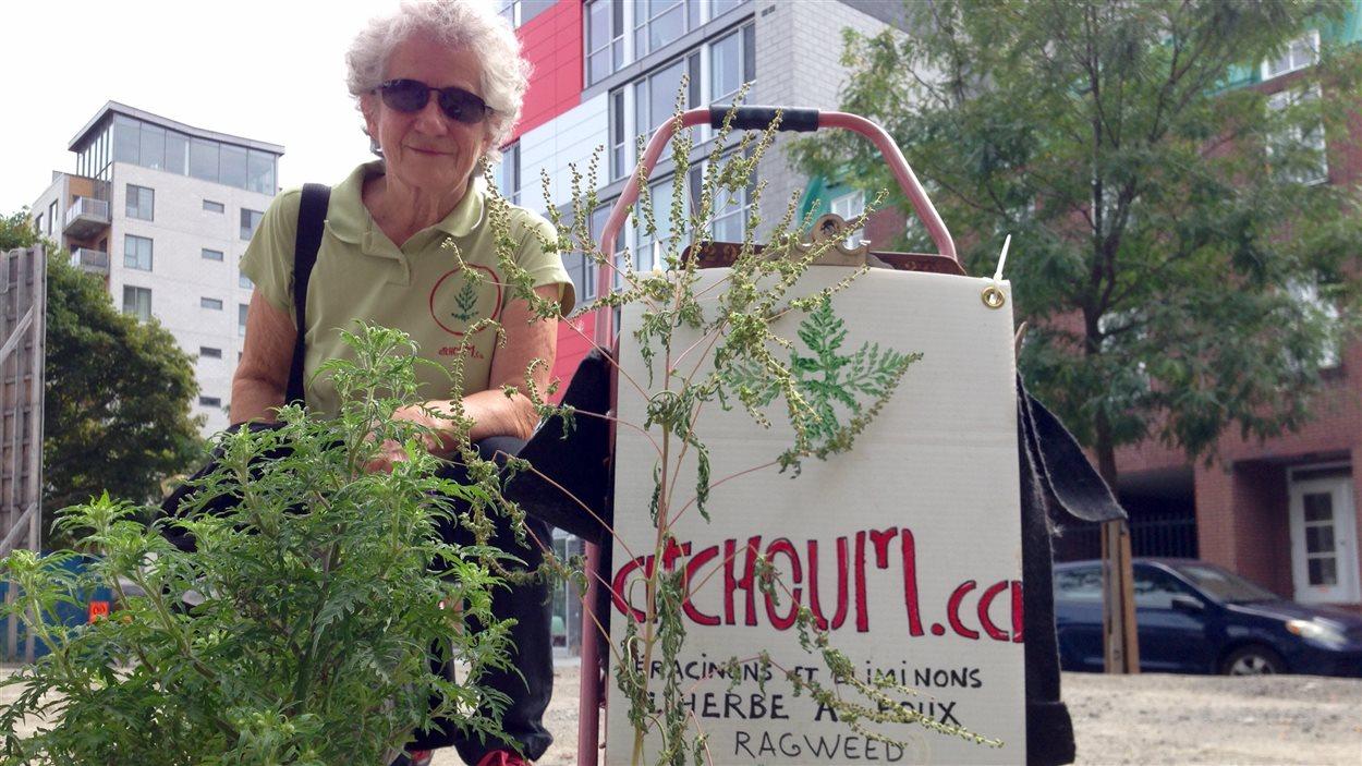 Irène Mayer se promène maintenant avec un petit chariot et un t-shirt sur lesquels son site web est bien identifié: atchoum.ca