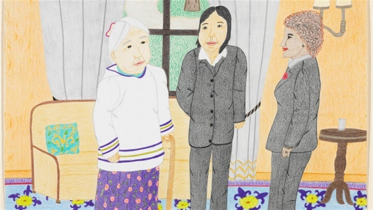 Un dessin d'Annie Pootoogook qui a été fait après sa visite chez Michaëlle Jean.