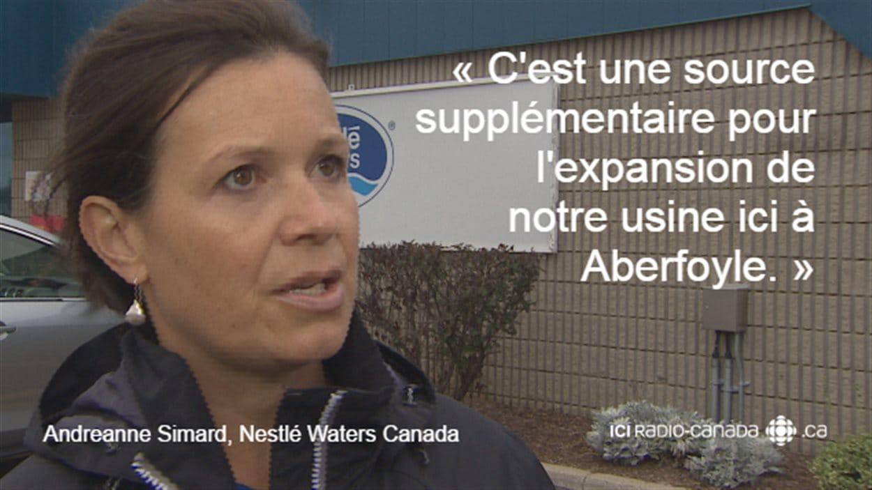 Andreanne Simard, gérante des ressources naturelles, Nestlé Waters Canada