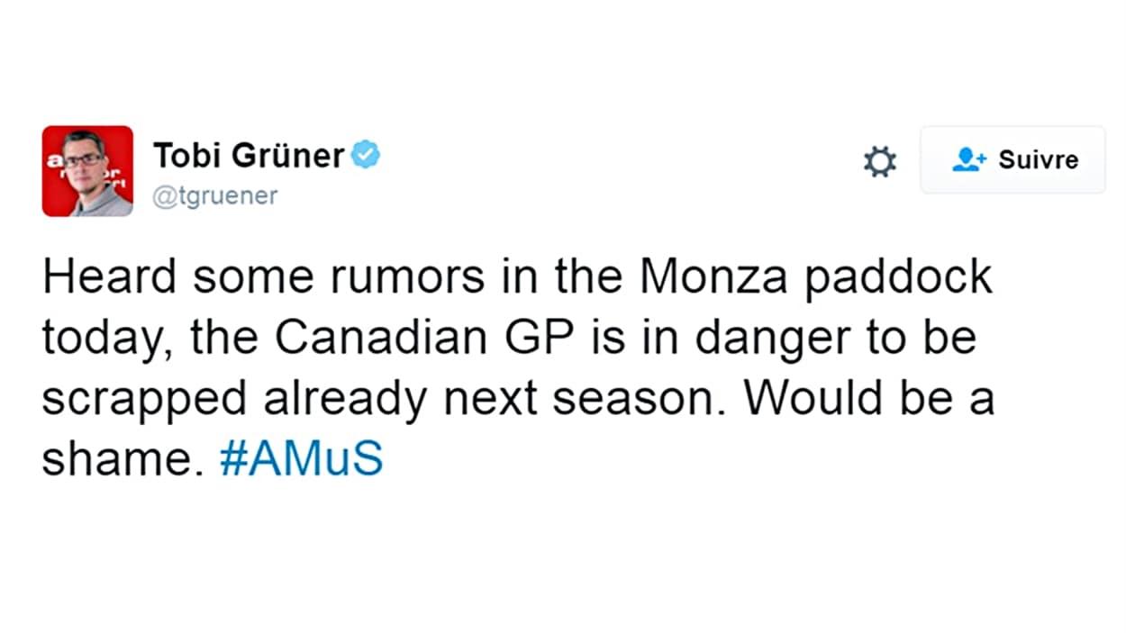 La rumeur à propos du GP du Canada de 2017