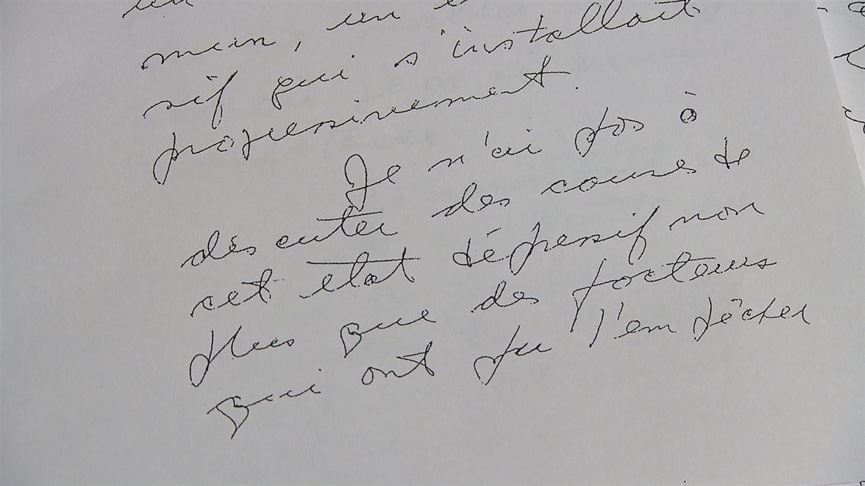 Une copie de la lettre écrite par le Dr Jean-Paul Fortin