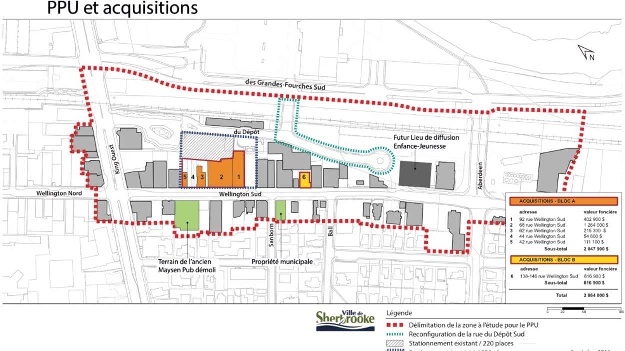 Voici la zone prévue pour le quartier de l'entrepreneur au centre-ville de Sherbrooke