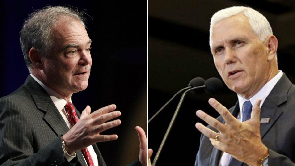 Les candidats à la vice-présidence Tim Kaine (D) et Mike Pence (R)