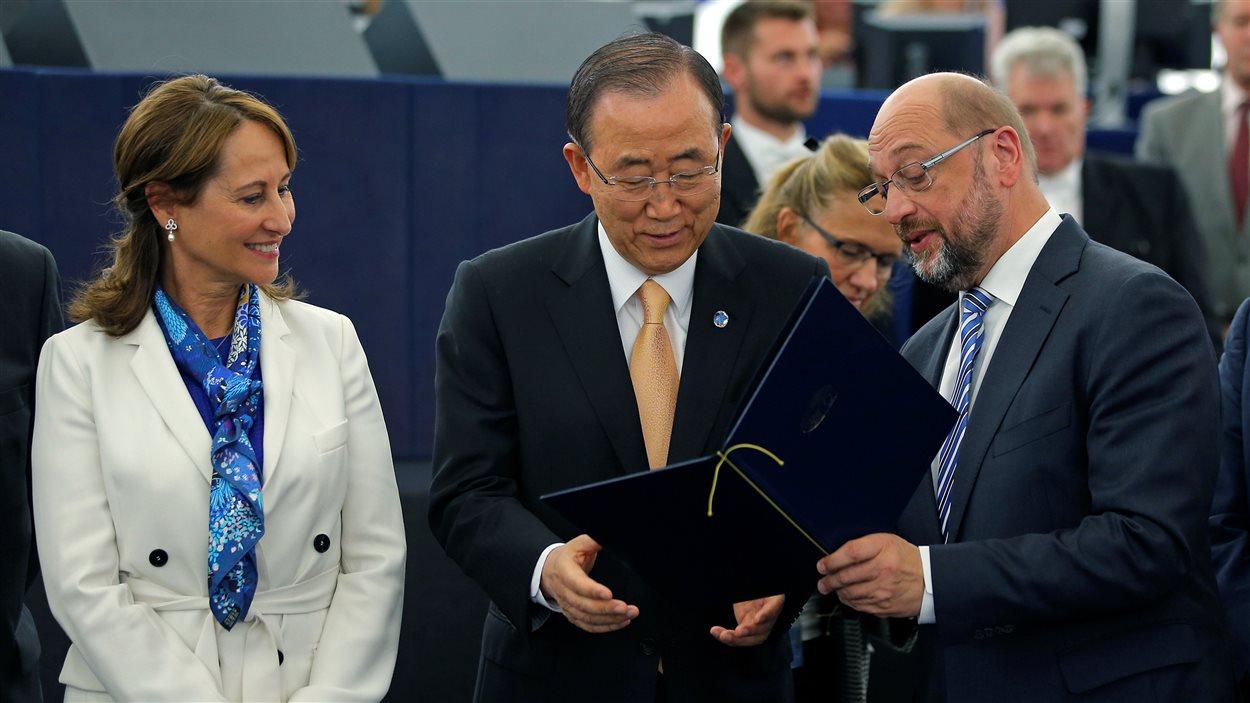 Ségolène Royal, Ban Ki-moon et Martin Schultz