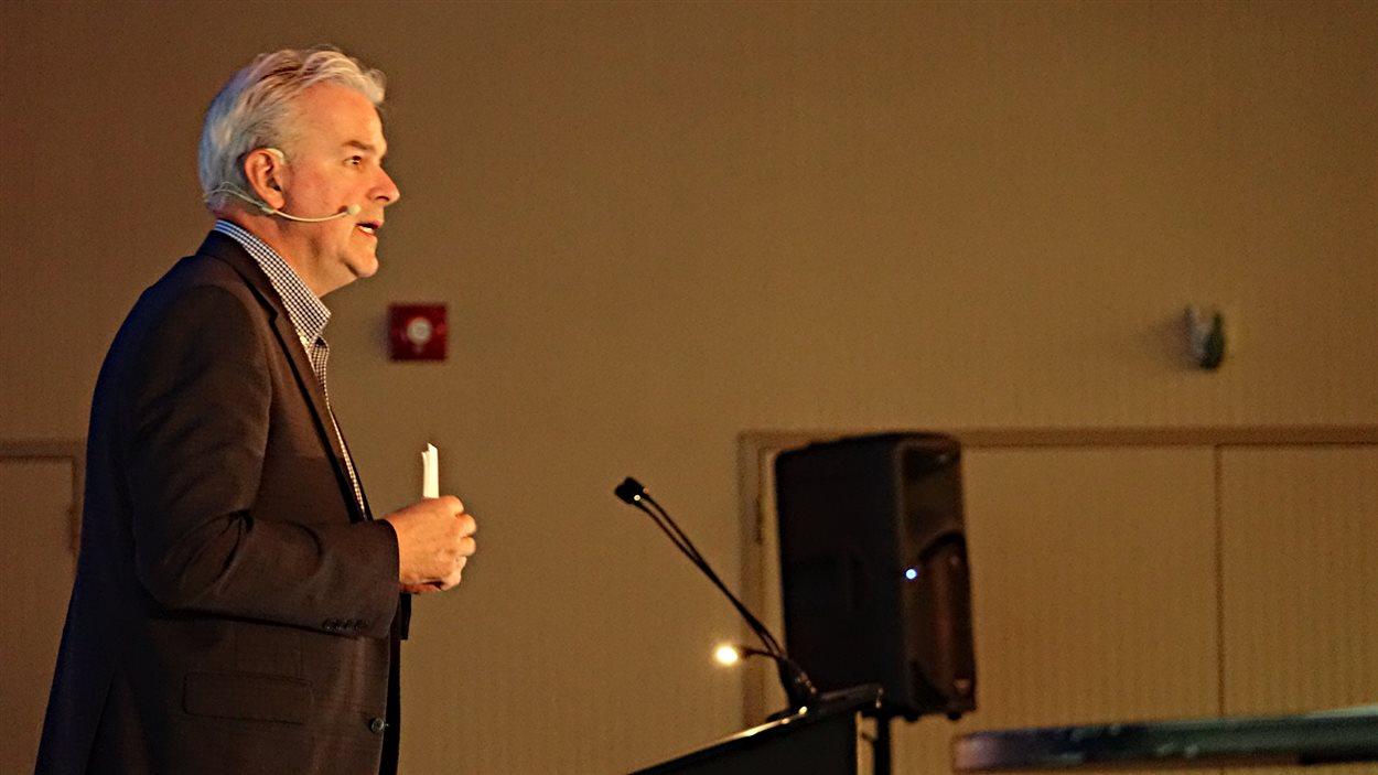 Le maire de Sherbrooke, Bernard Sévigny, lors du souper du maire de la Chambre de commerce de Sherbrooke, en octobre 2016