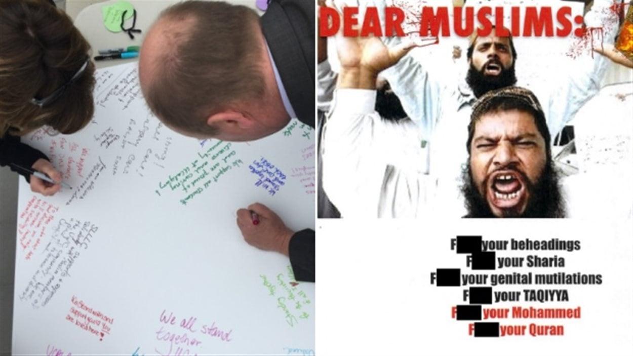 Les étudiants de l'Université de Calgary ont répondu par des messages de tolérance à des affiches racistes.