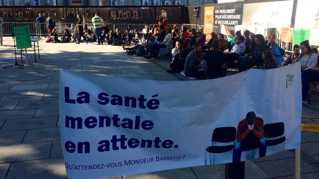 Des doctorants en psychologie manifestent devant l'Assemblée nationale.