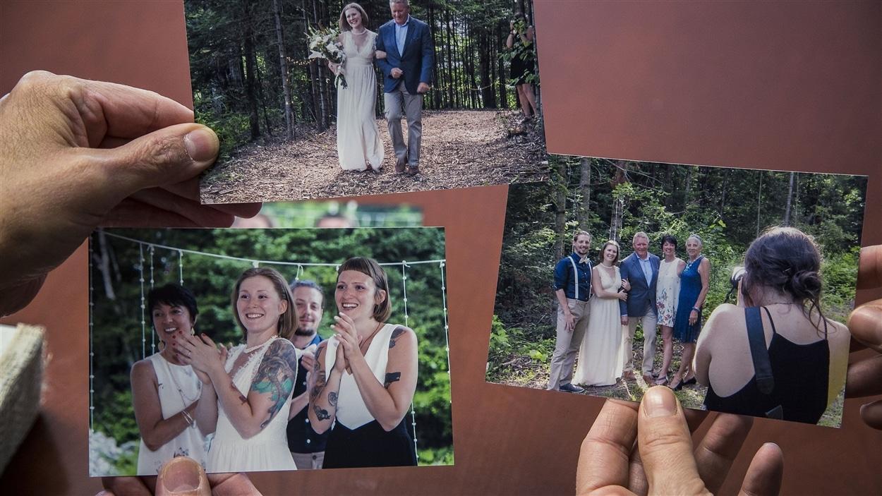 Suzanne Lafond présente des photos de famille.